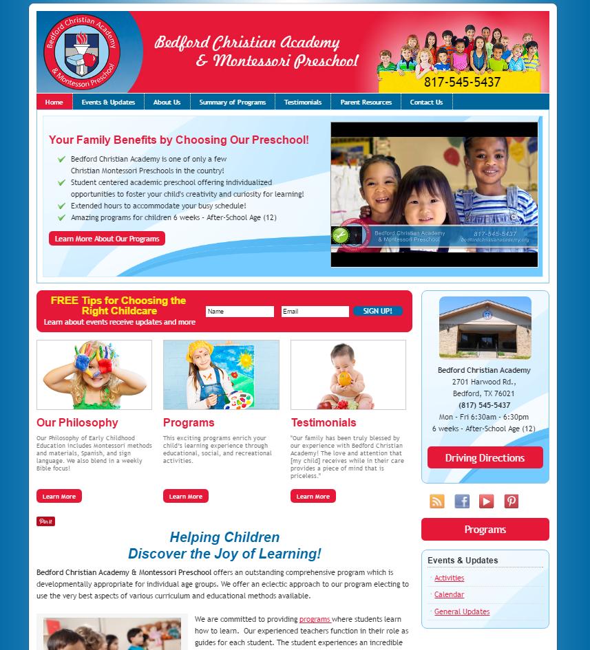 portfolio local child care marketing bedfordchristianacademy org