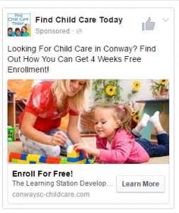 Conway Child Care FB Ad