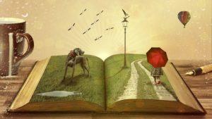 book with cartoon illustartions
