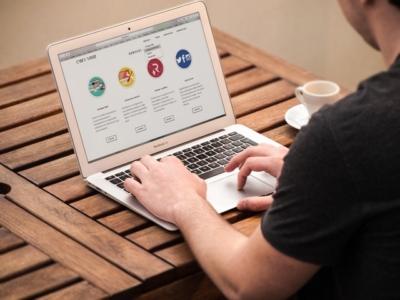 man browsing a website