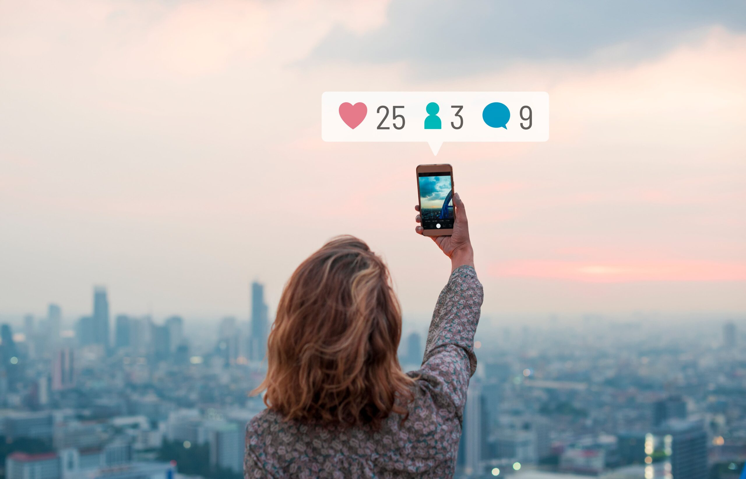 woman holding her phone, social media icons, tips