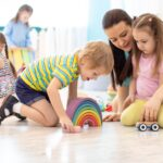 Kids with teacher in daycare center